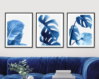 Set Of 3 Leaf Print Blue Wall Art Banana Leaves Monstera Plant Botanical Printable Trendy Home Decor By Prostoroom ArtStudio