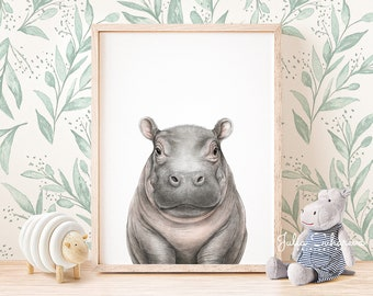 CUTE BABY HIPPO SWIMMING LARGE A3 SIZE QUALITY CANVAS ART PRINT