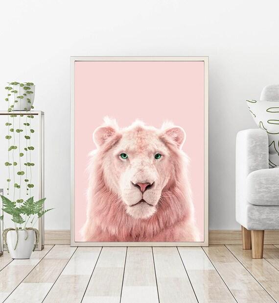 Lion Print Pink Panther Printable Light Pink Wall Art Wild Etsy