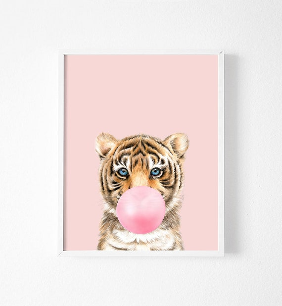 Tiger Print Safari Baby Animals Printable Bubble Gum Wall Art Funny Poster  Tiger Printable Pink Wall Art Nursery girl room decor Art Prints