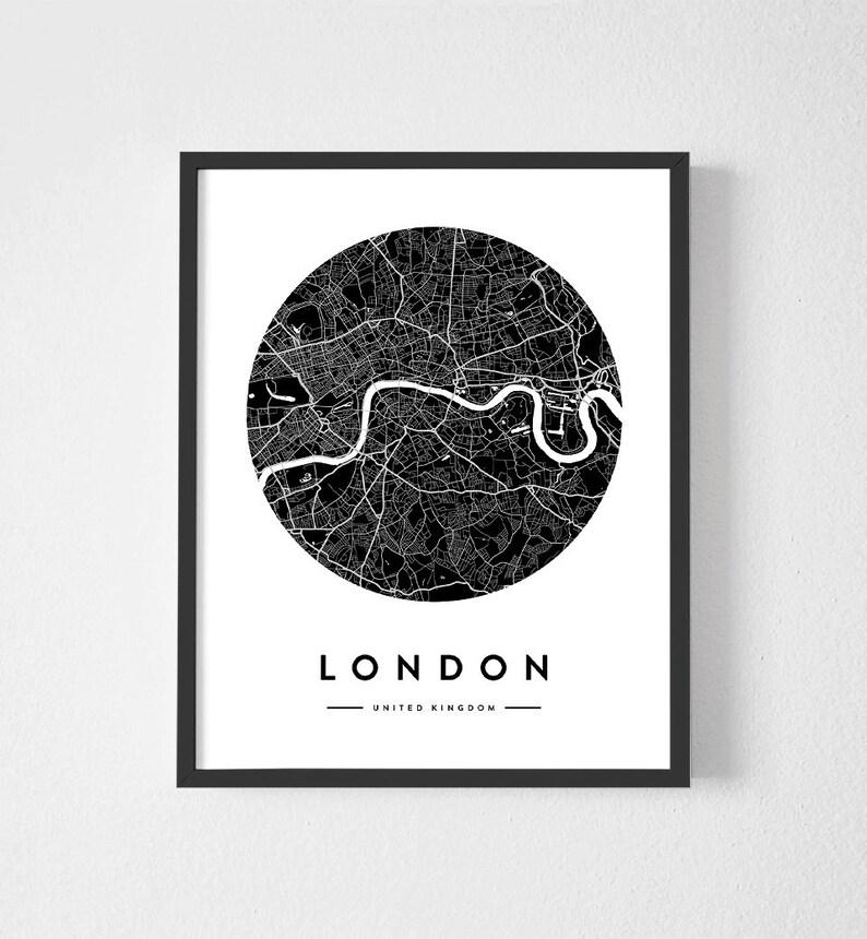 image relating to Circle Map Printable called London Map Print, London Town, Black and White Map, Printable Circle Map, Metropolis Map Wall Artwork, United Kingdom Map via Prostoroom ArtStudio