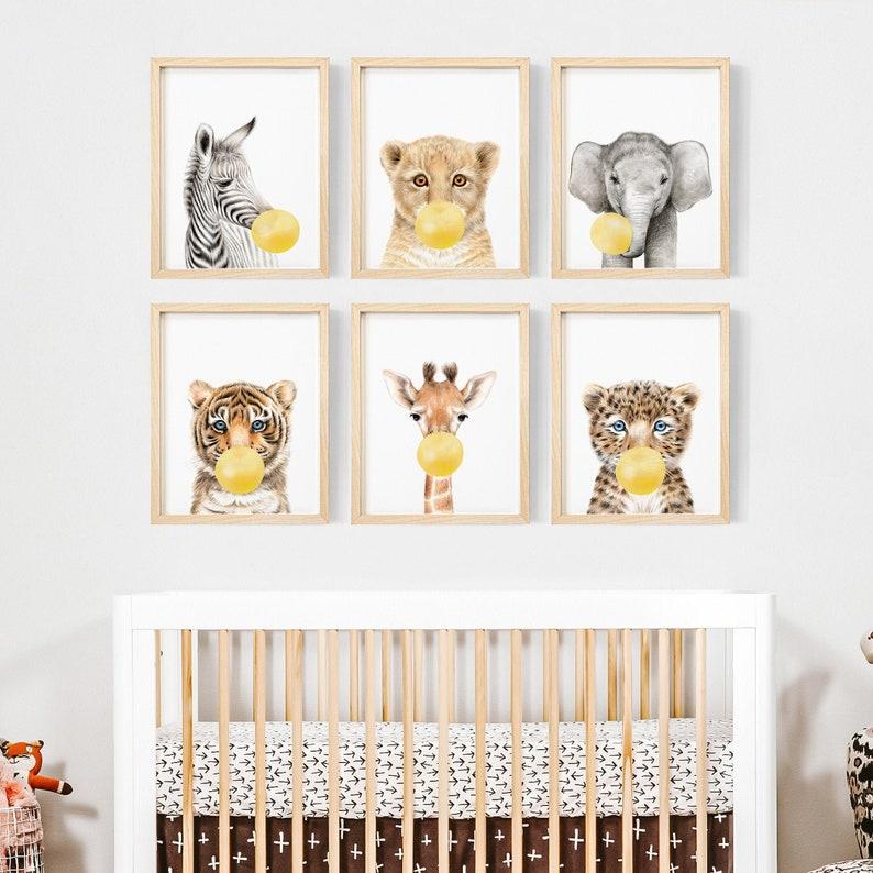 6 affiches animaux couleur jaune pour décorer la chambre de bébé - Créatrice ETSY : Prostoroom