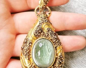 True Vintage XXL chain pendant gold &blue pompous grapefruit drops Granulated