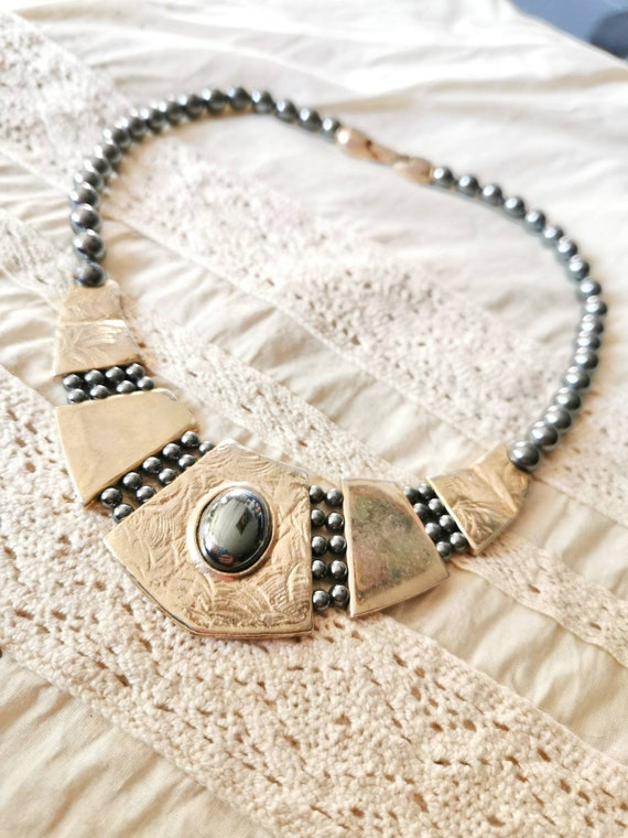 Hematite necklace /chain 70s true vintage design n