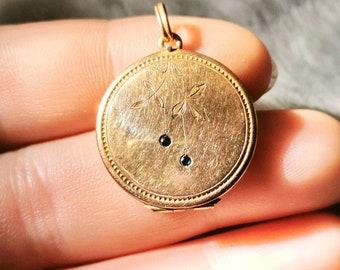 Art Nouveau Doublé & Sapphire Photo Medallion Chains Pendant true vintage around 1920 art nouveau necklace pendent