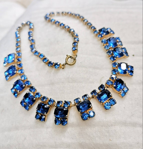 20s Rhinestone Collier France BLUE Gorgeous Neckla