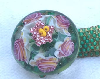 Kim Miles floral glass donuts bead on beaded ring
