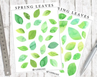 Sticker set spring leaves-beautiful watercolor illustration leaves-hand drawn spring stickers