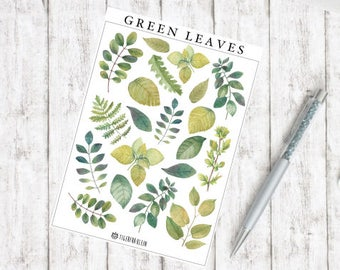 Sticker green leaves watercolor