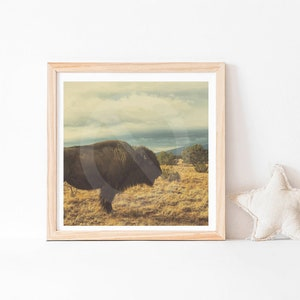 Reindeer Print Farmhemian Minimalist Landscape Art Print Digital Download Wild West Decor Bohemian Art Buffalo Prints Christmas Decor