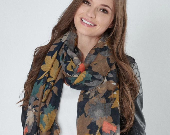 Featured listing image: Leaf Scarf Large Soft Light Weight Gauzy Wrap with Overlock Edge Detail Brown Navy Blue Mustard Teal