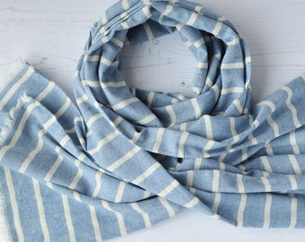 Nautical Seaside Print White and Silver Scarf