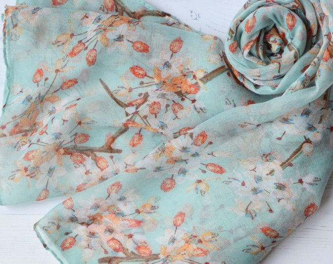 Featured listing image: Floral Scarf Soft Aqua Cherry Blossom Semi-sheer Summer Wrap