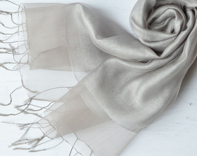 Featured listing image: Silver Grey Organza and Crepe Silk/Viscose Tasseled Special Occasion Wrap