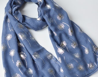 693c47bda2a3 Foil Scarf Personalised Soft Denim Blue Scarf with Metallic Silver  Dandelion Foil Print Elegant Evening Wrap