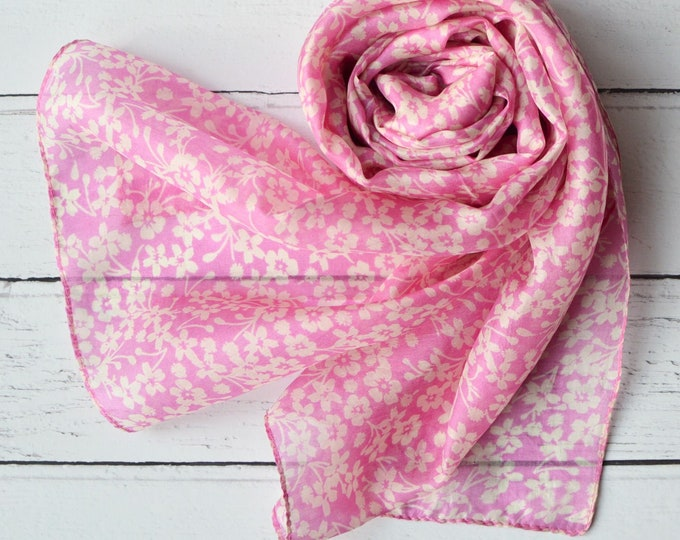 Featured listing image: Silk Scarf Hand Printed Chiffon with Pink and Off White Dainty Floral Print