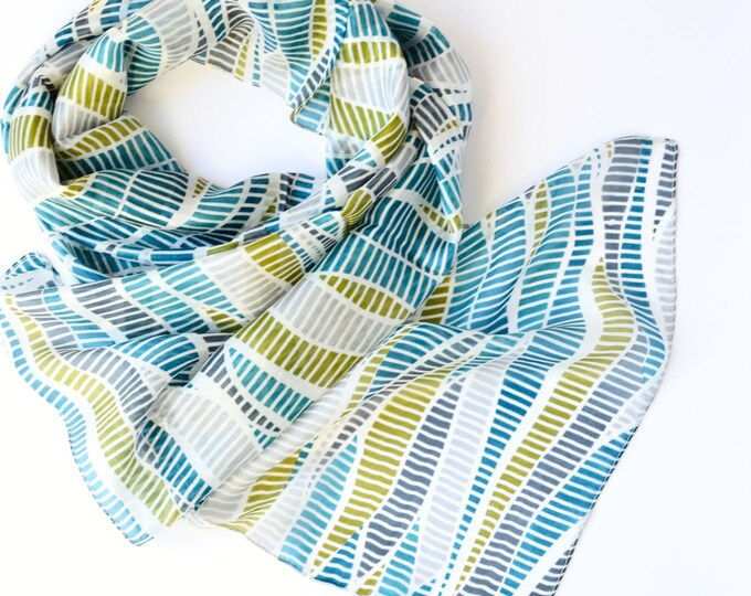 Featured listing image: Silk Hand Printed Scarf Striking Wave Print in Teal Lime Green Grey Head Wrap Neck Tie Perfect Gift
