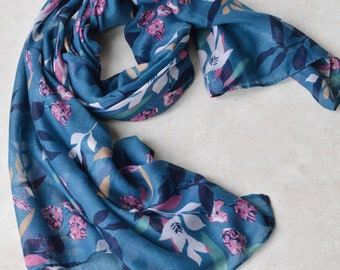 6de8f3cc3 Personalised Scarf Blue Light-weight Floral and Leaf Scarf Large Long Wrap  Soft Scarf Ladies Women Foulard Êcharpe