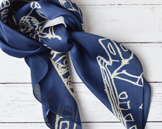 Featured listing image: Silky Scarf Arabic Mosques and Minarets Illustrated Navy Blue Light Weight Head Scarf Neck Tie