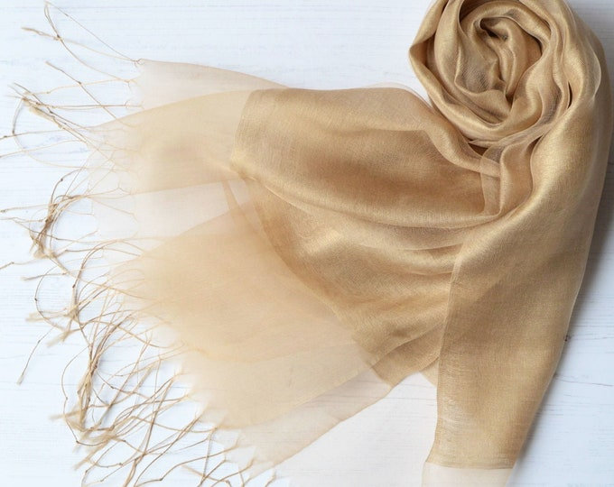 Featured listing image: Organza and Crepe Silk/Viscose Gold Tasseled Bridal Bridesmaid Special Occasion Wrap