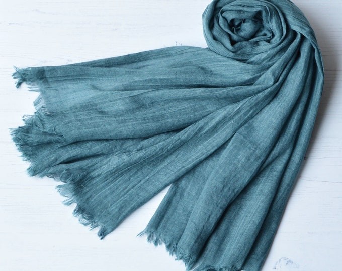 Featured listing image: Cotton and Wool Super Soft Scarf Large Light Weight Teal Green Wrap