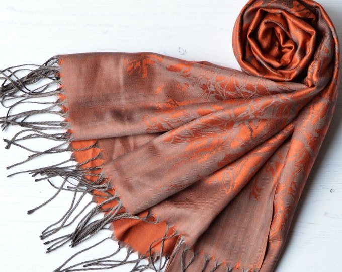 Featured listing image: Pashmina Burnt Orange and Charcoal Grey Soft Satin Weave Reversible Wrap