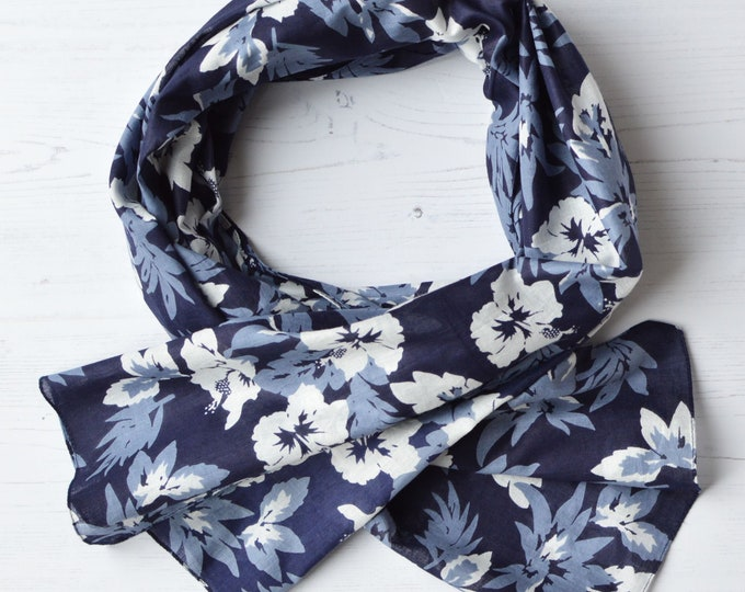 Featured listing image: Organic Cotton Scarf with Bold Hibiscus Flower Print in Navy blue Violet-Blue & White
