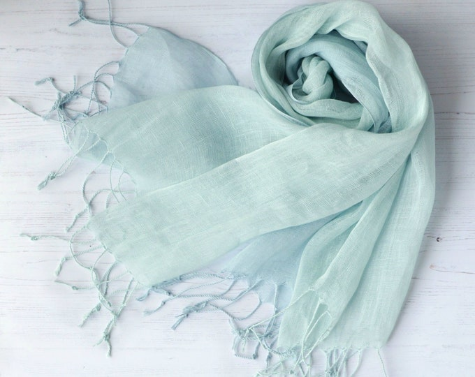 Featured listing image: Linen Scarf Women's Tonal Pastel Sky Blue and Aqua Green Wrap with Tassels