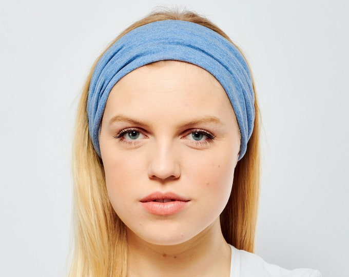 Featured listing image: Cotton Headband Blue Jersey Wide Elasticated Back Headwrap Stretchy Bandana Yoga Turban