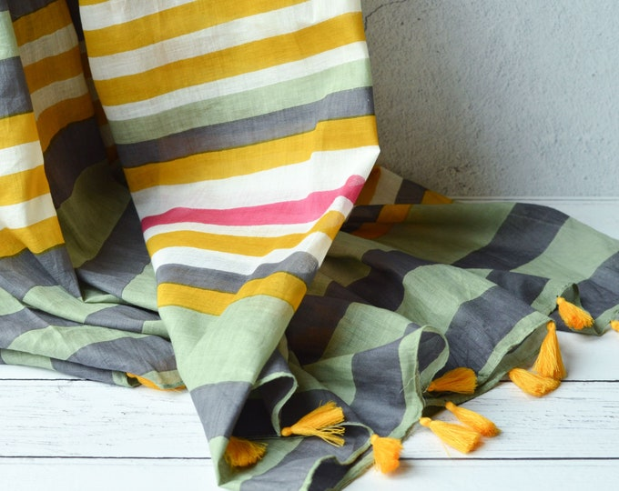 Featured listing image: Striped Tasseled Scarf Large Light Weight Hand Printed Wrap Olive Green Mustard Grey Sarong