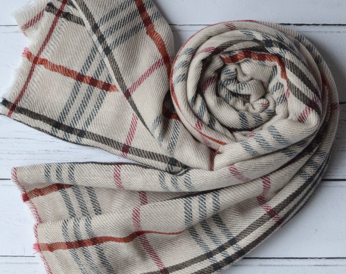 Featured listing image: Cashmere Tartan Scarf Large Soft Plaid Wool Wrap with Softly Frayed ends