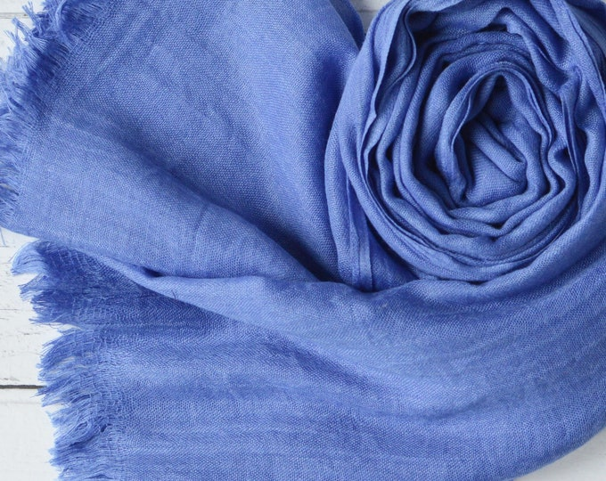 Featured listing image: Cornflower Blue Scarf Large Light Weight Super Soft Fine Weave Wrap in a Modal Blend
