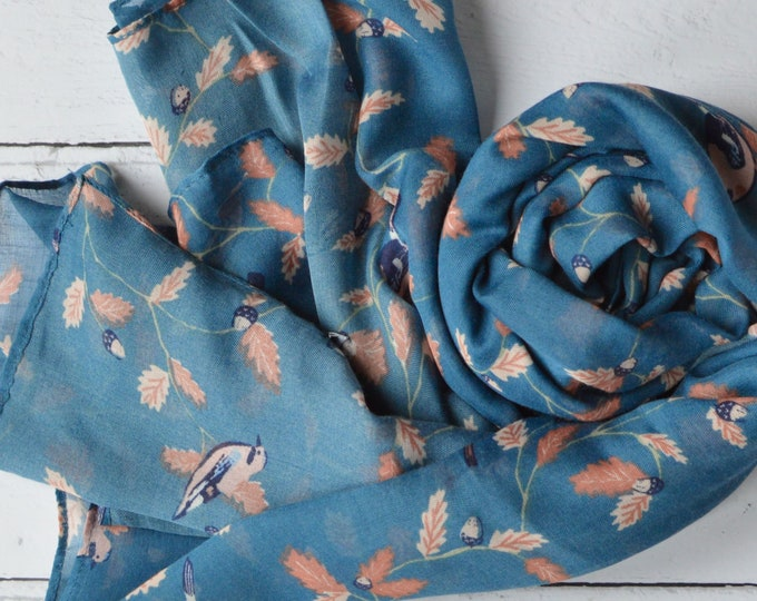 Featured listing image: Teal Blue Scarf Jay Bird Print Soft Semi-sheer Wrap with Rolled Edges