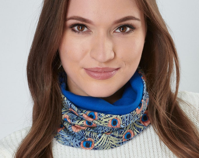 Featured listing image: Snood Peacock Liberty Style Print Neckwarmer Stretchy Jersey Scarf Oeko-Tex certified Cotton Lining