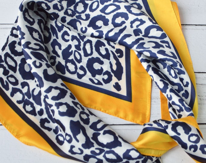 Featured listing image: Leopard Scarf Square Headscarf or Neckerchief Silky Blue & White Animal Print with Yellow Border