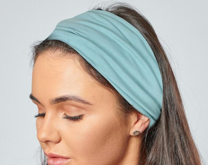 Featured listing image: Organic Cotton Headband Duck Egg Blue Jersey Elasticated Back Bandana by Antonia York