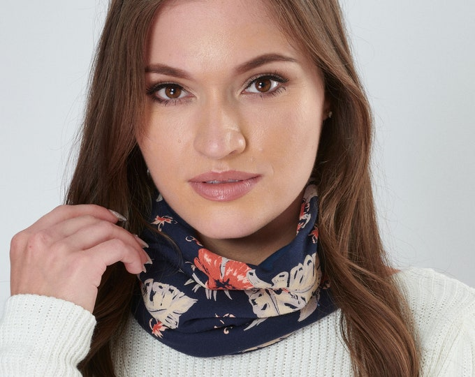 Featured listing image: Snood Orchid Floral Print Neck Warmer Stretchy Jersey Oeko-Tex certified Cotton Lining Ethical and Ecologically Friendly