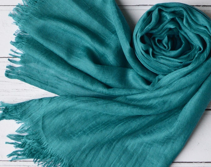 Featured listing image: Teal Scarf Large Super Soft Scarf Light Weight Semi-Sheer Modal Blend Cerulean Teal Wrap