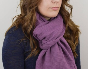 Purple Scarf, Frayed Scarf, Cotton Gauze Scarf, Fringed Scarf, Soft Scarf, Light Scarf, On Trend Scarf, Gift for Her