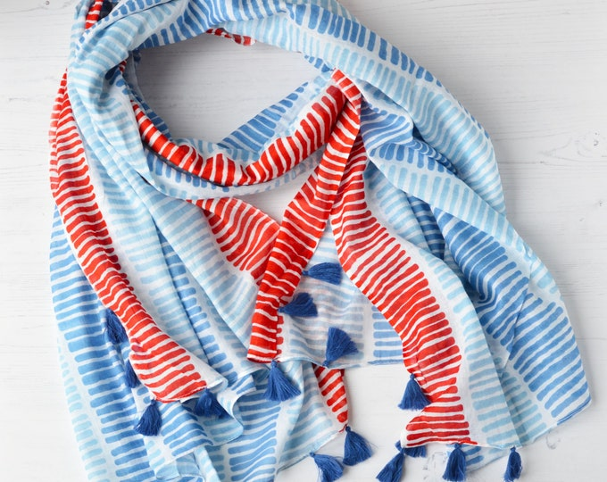 Featured listing image: Striped Cotton Hand Printed Tasseled Scarf Large Light Weight Soft Red White Blue Sarong