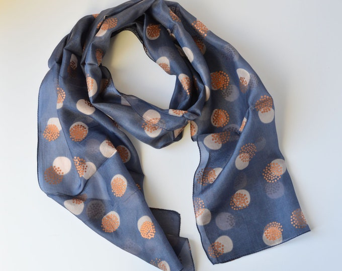 Featured listing image: Hand Printed Silk Scarf Blue-Grey with Copper Metallic Circle Design Light Weight Silk Neck Tie Hair Scarf