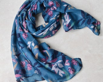 074727cbfc26 Personalised Scarf Blue Light-weight Floral and Leaf Scarf Large Long Wrap  Soft Scarf Ladies Women Foulard Êcharpe