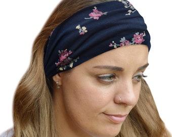 f095558b949 Headband Navy Pink Floral Stretchy Headband Bandana yoga hair accessories  gift for her Organic Cotton Navy Pilates Hiking Gym Headband