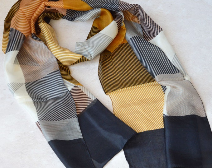 Featured listing image: Aria Hand Printed Silk Scarf Mustard & Navy Pinstripe Wide Border Perfect Mother's Day gift