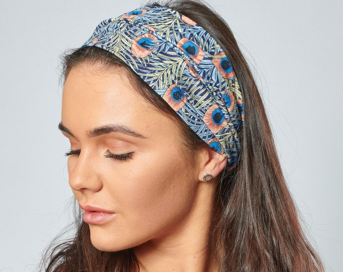 Featured listing image: Headbands for Women Wide Hair Band Liberty Style Peacock Feather  Boho Print Stretchy Comfortable Non Slip