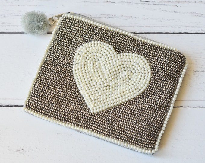 Featured listing image: Beaded Zipped Purse Metallic and Pearl Beads Embellished Small Bag with Zipper and Pompom