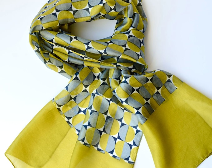 Featured listing image: Silk Scarf Hand Printed Lime Green Grey Geometric Print with Wide Border Head Wrap Neck Tie Perfect Gift Mother's Day Birthday