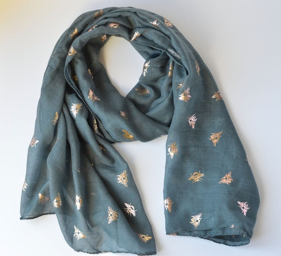 Pale pink Scarf gold metallic feather print design scarves shawl present gift