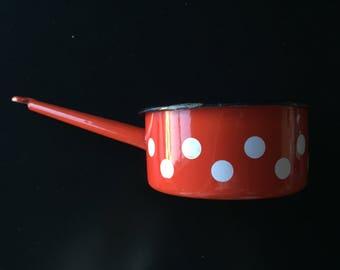 Small Red Polka Dot Enamel Pot - Made in Yugoslavia