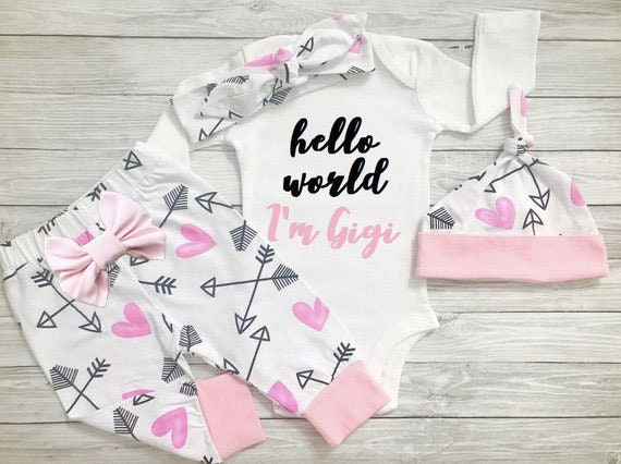 Newborn Girl Outfit Newborn Girl Coming Home Outfit Winter Newborn Girl Outfit Baby Girl Coming Home Outfit Hello World Outfit
